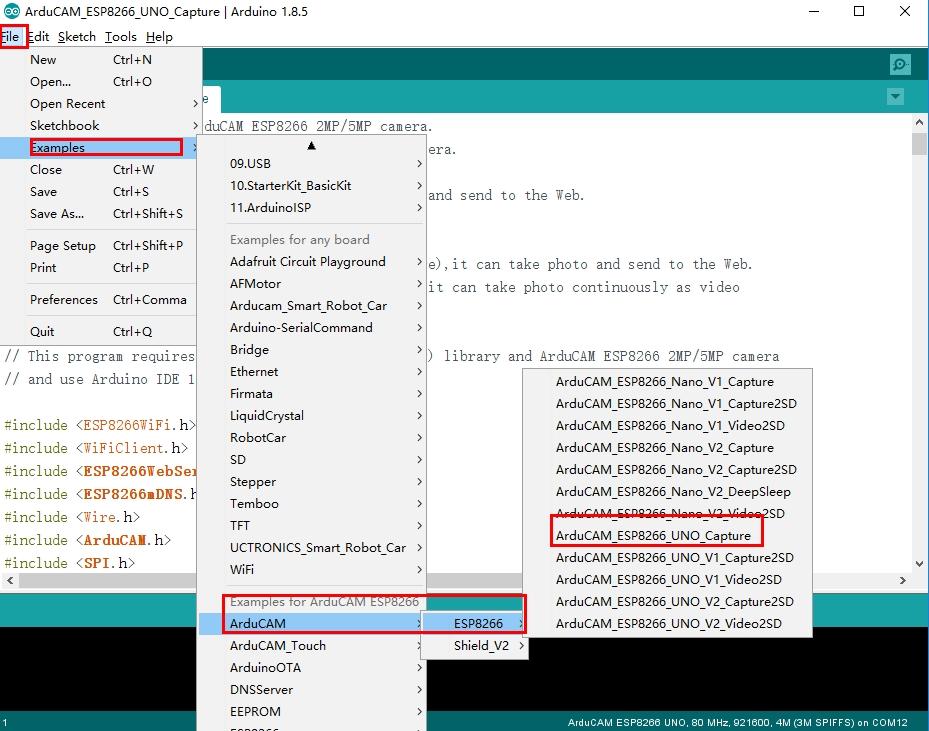 arducam mini code example