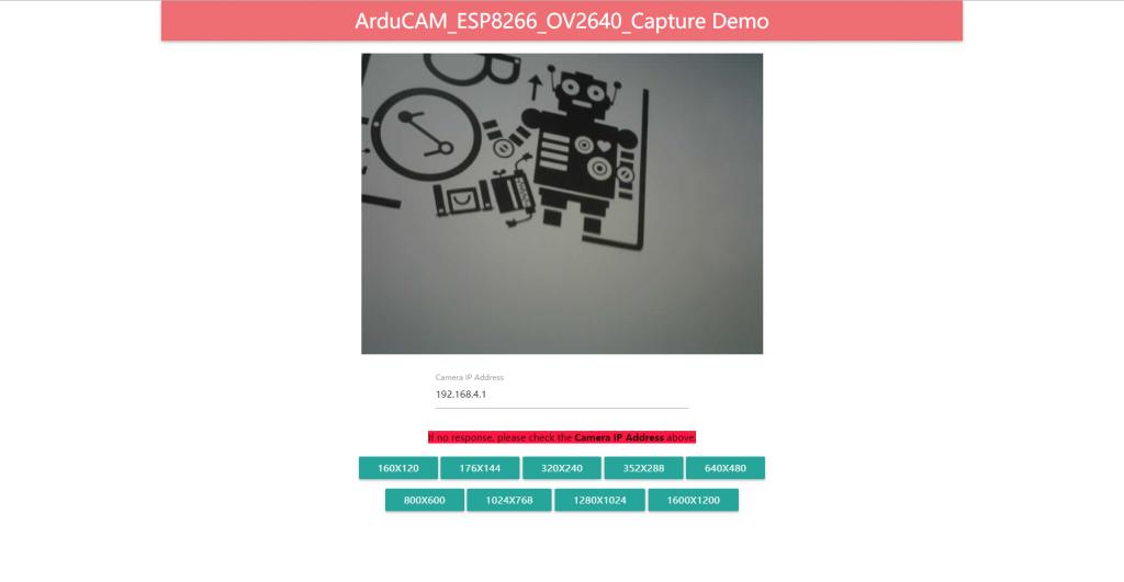 ArduCAM for ESP8266 websocket camera demonstration