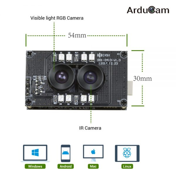 arducam stereo usb 2 uvc camera dual ir dimension and compatibility