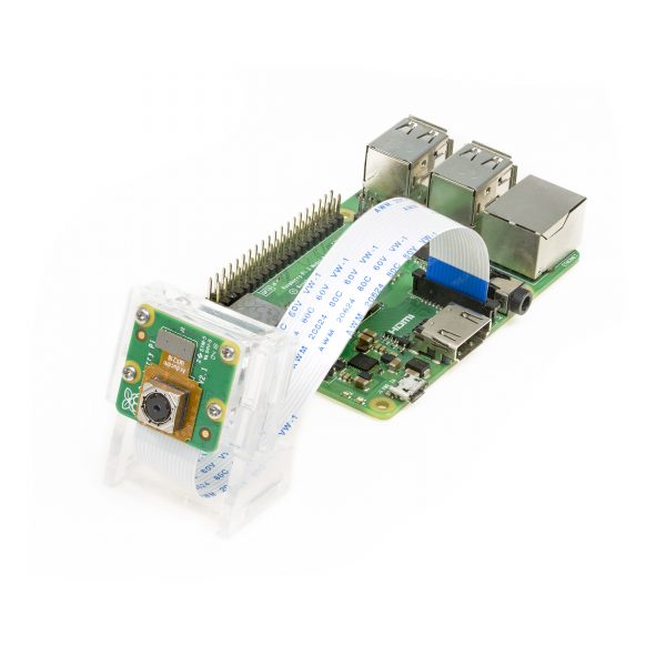 IMX219 Auto Focus Camera Module with An Acryic case being connected to Raspberry Pi 4