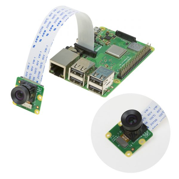Arducam IMX219 Low Distortion IR Sensitive (NoIR) Camera Module connects to Pi 3B+