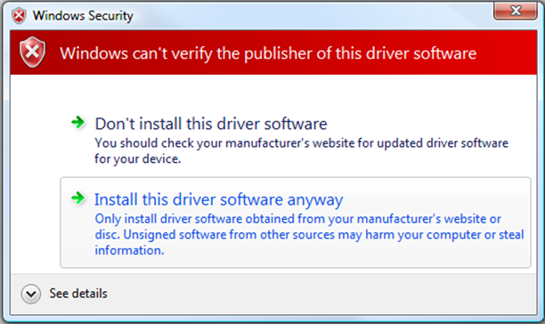 "Confirm the installation of the driver by pressing ""Yes"