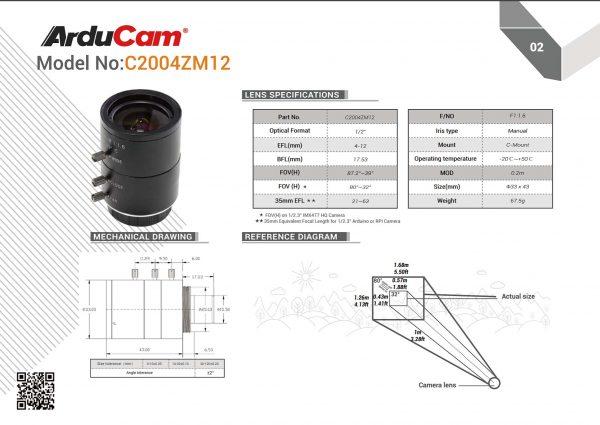 Specs of the Arudcam LN0448 C mount lens