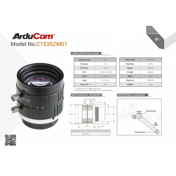 arducam c mount 35mm ln047 lens 6