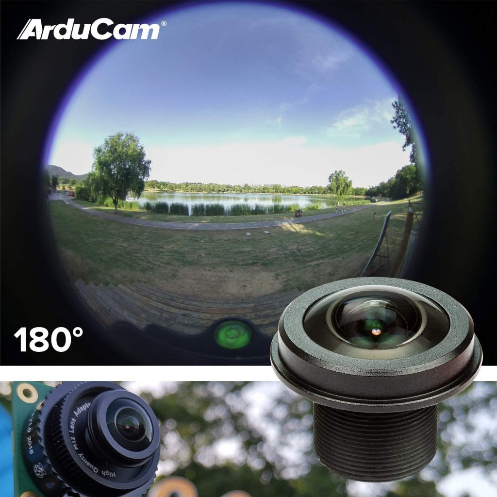 raspberry pi high quality camera wide angle fisheye lens m12 arducam