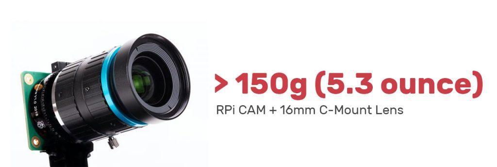 raspberry pi high quality camera c mount 16mm lens weight