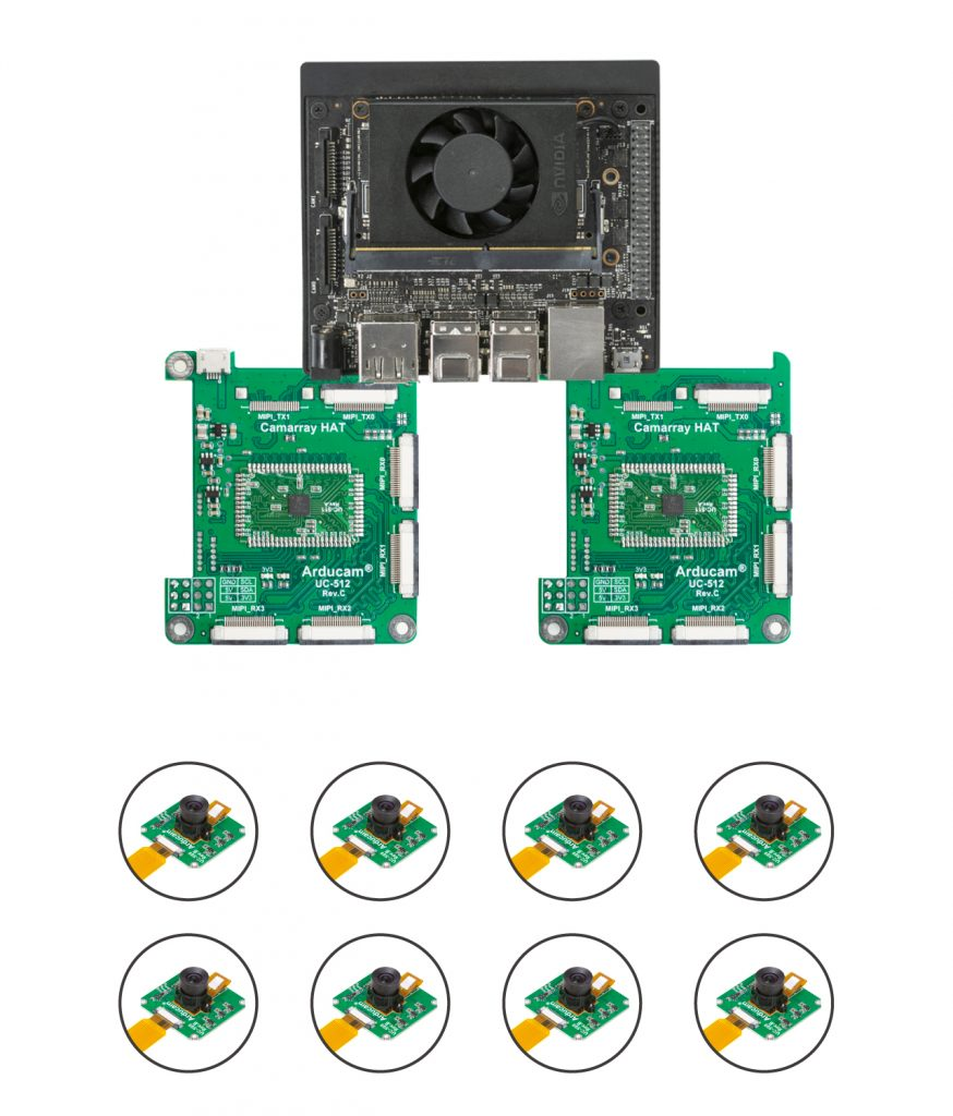 NX with several Camarray HATs and dozens of camera modules