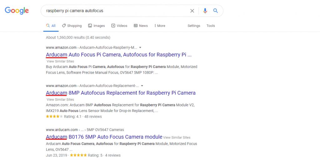 arducam raspberry pi autofocus camera module in the search results