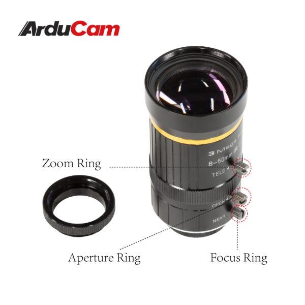 Arducam 8 50mm C Mount Zoom Lens IMX477 Raspberry Pi LN057 2