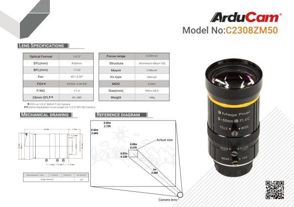 LN057 8 50mm C Mount Lens Datasheet 00
