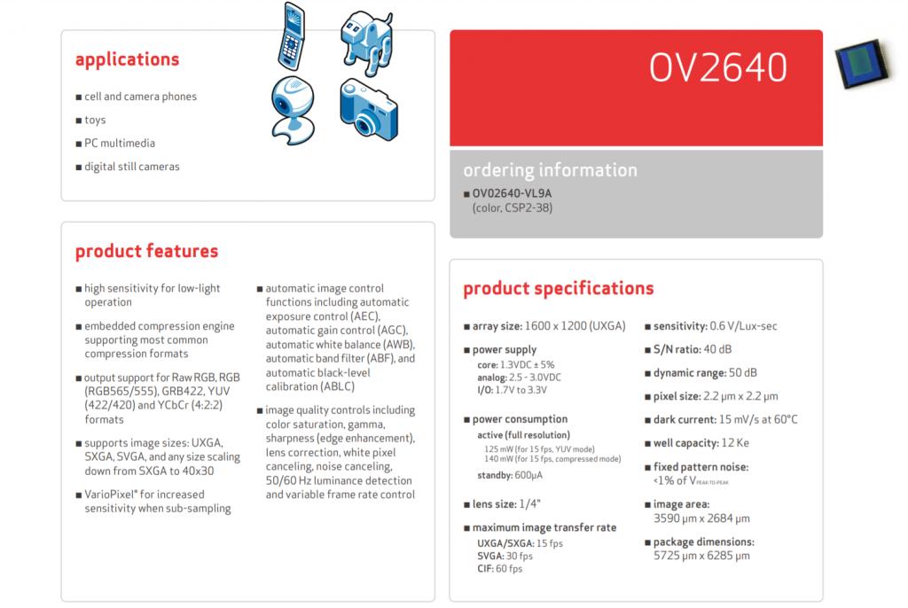 ov2640 product brief 2006
