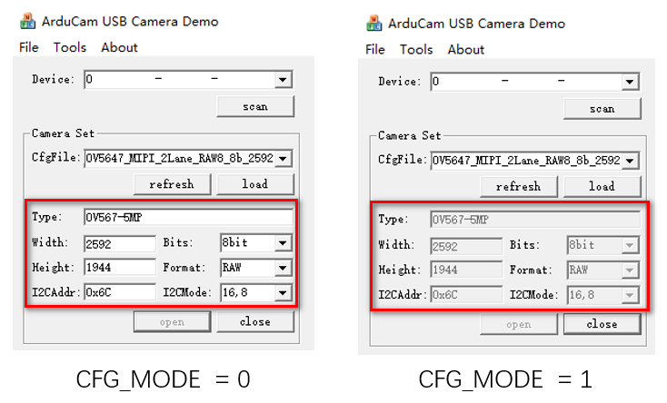 Display Mode and Camera Address Configuration2