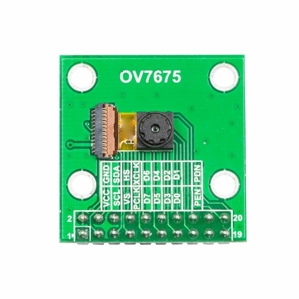640x480 0.3 mp mega pixel lens ov7675 cmos camera module with adapter board front view 1