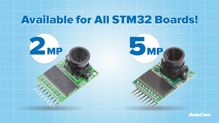 best camera modules available for stm32 F H G L U and W series